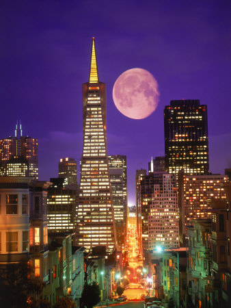 146755b-FB~Moon-Over-Transamerica-Building-San-Francisco-CA-Posters